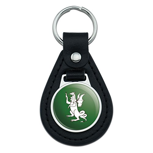 Graphics and More Dragon Medieval Mythological Creature on Green Black Leather Keychain (Leather Green Dragon)