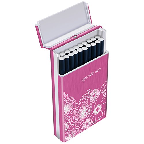 Cadeau À Rangement Padgene Etui Noël Cigares Cigarette Porte 20 Cigarettes Aluminium rose Rose Rouge En Slim Rouge Femme Boîte De Fw65zAwq