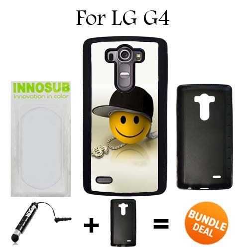 LG G4 Case, Swagger Bloke Smiley Gangbanger Veteran Black Rubber Case, Premium Bundle 2in1 Comes With Universal Stylus Pen by - Bloke Black