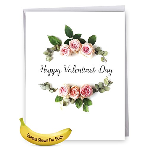 Appreciation Day Bouquet - Elegant Flowers Happy Valentine's Day Greeting Card with Envelope (Large 8.5 x 11 Inch) - Bouquet of Pink Roses - Stylish Big Valentines Surprise Card, Appreciation Notecard J4175AVDG
