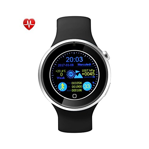 YKS Smart Watch Waterproof Bluetooth 4.0 Watch Silicone Strap Bluetooth Phone Call UV Detection Pedometer Sleep Monitor Heart Rate Monitoring Anti-sweat Fully Compatible With iPhone Android Smart Phone (Black)