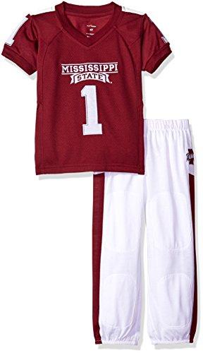 FAST ASLEEP NCAA Mississippi State Bulldogs Boys Toddler/Junior Football Uniform Pajamas, Size 4T, Maroon/White - Bulldogs Uniform
