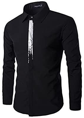 Whatlees Mens Long Sleeve Print Button Down Dress Shirt