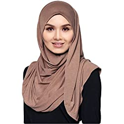 Hana's Womens Lightweight Poly Cotton Jersey Hijab Scarf One Size Dark Grey