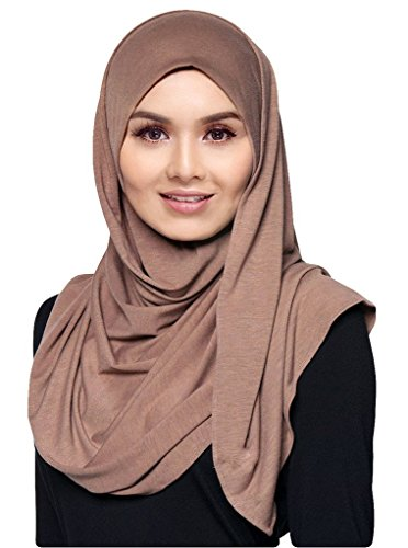 Hana's Womens Lightweight Poly Cotton Jersey Hijab Scarf (One Size, Coral) (Jersey Cotton Scarf)