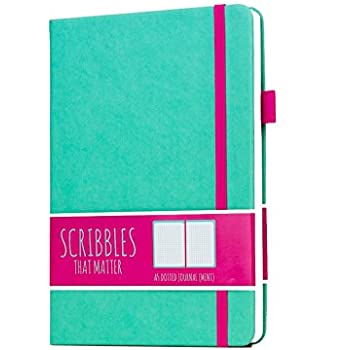 Scribbles That Matter (Pro version) Dotted Journal Notebook Diary A5 - Elastic Band - Beautiful Designer Cover - Premium Thick Paper (Mint)