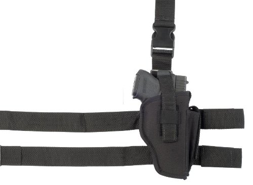 Soft Armor Tactical Nylon Thigh Gun Holster with Molded Thumb Break and Attached Mag Pouch (Right Hand), Black, Size (Tac Thigh Holster)