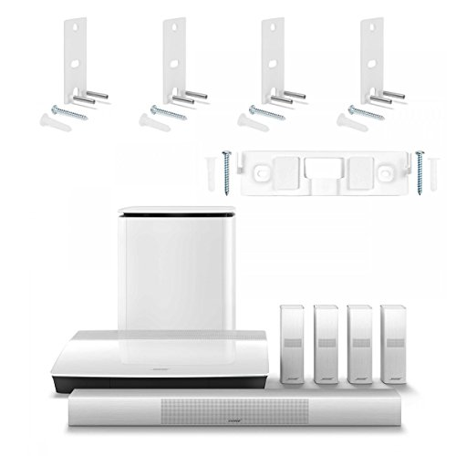 Bose Lifestyle 650 Home Entertainment System with Wall Brackets (1 OmniJewel Center Channel Bracket & 4 OmniJewel Wall Brackets) – White