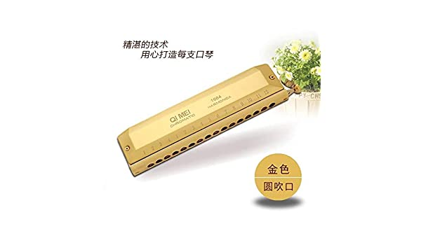 Swan 16 Holes 64 Tones Gold Color Tone C Chromatic Harmonica