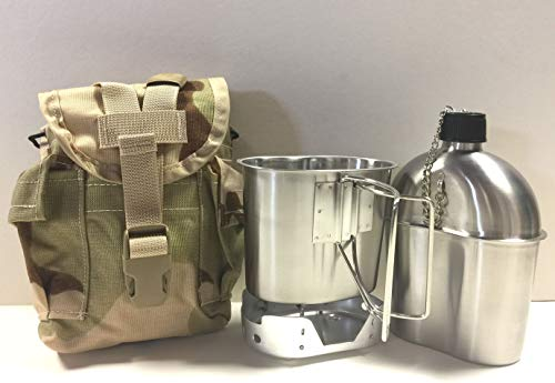 G.A.K New Military Style 1 qt. Stainless Steel Canteen with Cup, Aluminum Foldable Stove, and Used Surplus G.I. Issue Cover Kit. (Desert CAMO)