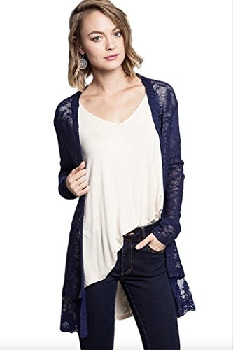 Umgee USA Women's Lightweight Lace Trimmed Open Cardigan Sweater ...