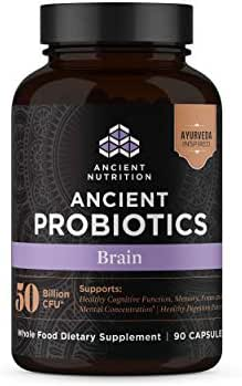 Ancient Nutrition, Ancient Probiotics Brain, 50 Billion CFU, Healthy Cognitive, Digestive, Immune Functions, Shelf Stable, 90 Capsules