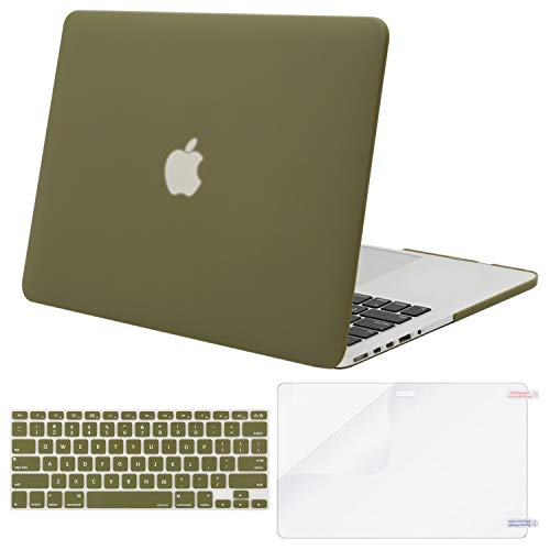 MOSISO Case Only Compatible with Older Version MacBook Pro Retina 13 inch (Models: A1502 & A1425) (Release 2015 - end 2012), Plastic Hard Shell & Keyboard Cover & Screen Protector, Capulet Olive