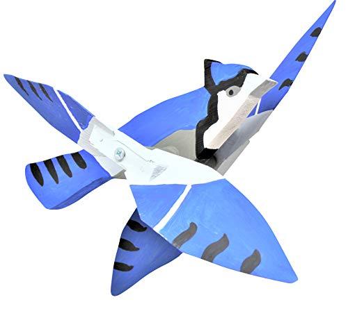 Folk Art Wood Blue Jay Whirly Bird Garden | Hanging Spinner American Made Décor ()