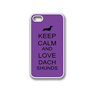 Keep Calm And Love Dachshunds Red Wood - Protective Designer BLACK Case - Fits Apple iPhone 4 / 4S / 4G