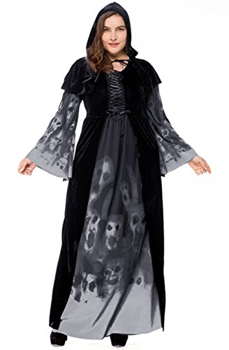 URVIP Women's Ghost Witch Halloween Costume Cloak Fancy Dress up Outfit Black XL ()