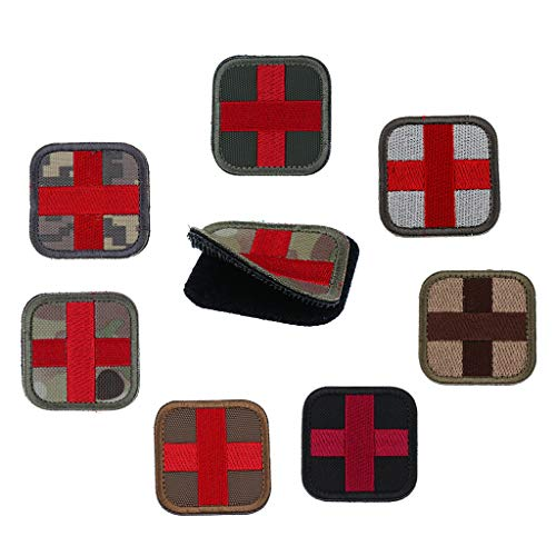 FLAMEER 8個 フック&ループ メディック 応急 赤十字 パッチ アップリケ アウトドアスポーツ アクセサリーの商品画像