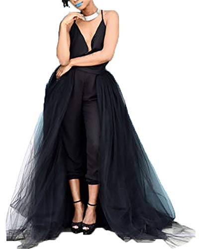 Women Wedding Maxi Tulle Skirts Detachable Train Overskirt Overlay Long Bridal Black