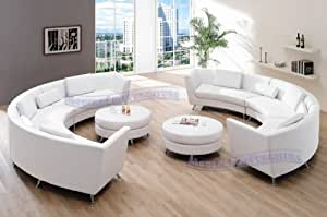 Exclusive Modern Furniture VIP Sectional with Two White Leather Sofas and 2 Ottomans