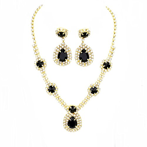 edding Jewelry Teardrop Crystal Chandelier Earrings Necklace Set Evening Prom Gift (Gold, Black) (Black Crystal Necklace Earrings)