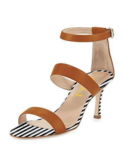 FSJ Women Classic Ankle Buckle Strap Sandals Open Toe High Heel Dancing Party Shoes Size 15 Sienna Womens Sienna Strap Sandal