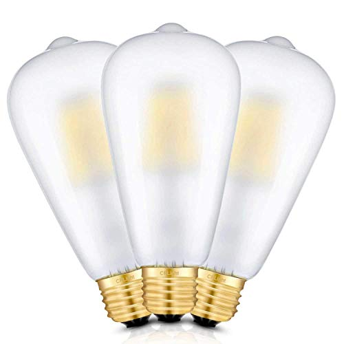 CRLight 3200K Dimmable LED Edison Bulb 8W 800LM Soft White, 80W Equivalent E26 Medium Base, ST21(ST64) Vintage Frosted Glass LED Filament Bulbs, 360 Degrees Beam Angle, Pack of 3 - Frosted Led Bulb