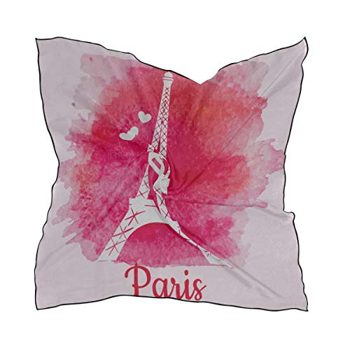 Soft Polyester Silk Bed Head Scarf Fashion Print Beautiful Art Paris Eiffel Tower Hood Scarves For Women Square Hair Scarf Ladies Scarves Multiple Ways Of Wearing Daily Decor