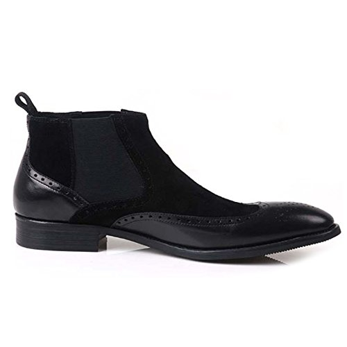 Fulinken Mens Two-tone Suede Leather Formal Dress Boots Slip on Brogue Wingtip Shoes Chelsea Boots Black iU9R2Mf4