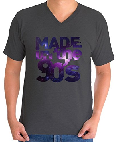 Awkward Styles Men's Made In The 90's V-neck T shirt Tops Galaxy Gift for Birthday Funny Saying Charcoal (90s Themed Clothes)