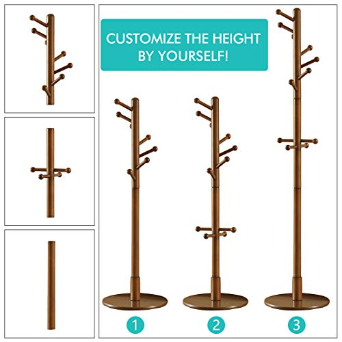 Free Standing Coat Rack-11 Hooks Sturdy Wooden Coat Hanger Entryway Hall Tree Coat Tree with Round Base for Clothes,Scarves,Handbags,Umbrella-Coffee