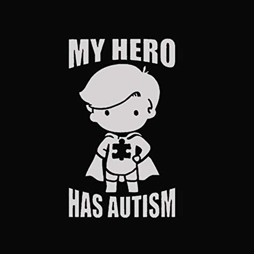 My Hero (Boy) Has Autism - Vinyl - 6 Inches (Color: White) Decal Laptop Tablet Skateboard Car Windows Stickers]()