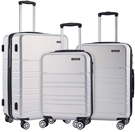 JELLYSTARS 3-Piece ABS-PC Spinner Luggage Sets Hardside Lightweight TSA Lock 4 Mute Double-Wheels Large Travel Rolling Suitcase Carry-On for Women Men 20 inch 24 inch 28 inch Silver
