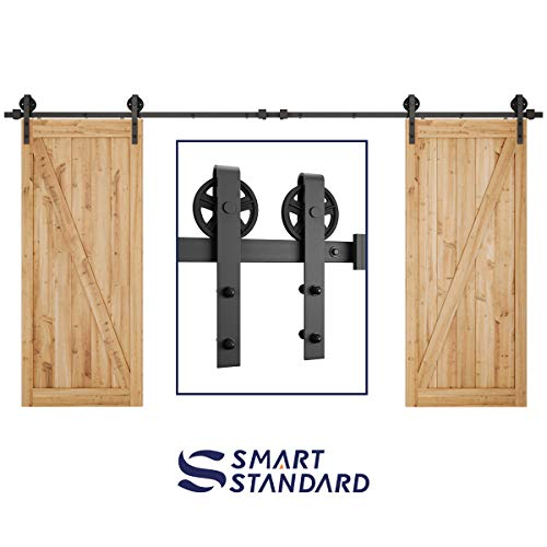 SMARTSTANDARD 13FT Heavy Duty Sturdy Double Gate Sliding Barn Door Hardware Kit, Two-Piece Track Rails, Black, Smoothly and Quietly, Easy to Install,