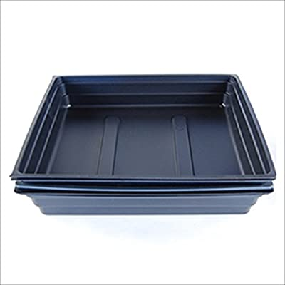 """Plant Germination Drip Trays - 10"""" by 10"""" Black Plastic Greenhouse Growing Trays with No Drain Holes - For Seedlings, Microgreens, Wheatgrass, More"""