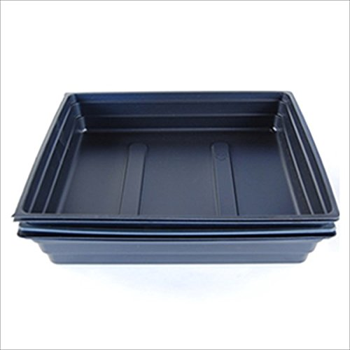 Plant Germination Drip Trays - Pack of 50 - 10'' by 10'' Black Plastic Greenhouse Growing Trays with No Drain Holes - For Seedlings, Microgreens, Wheatgrass, More by Living Whole Foods