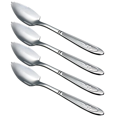 Zicome Grapefruit Spoons, Stainless Steel, 6-2/5-Inch, Set of 4 (Clover) ()