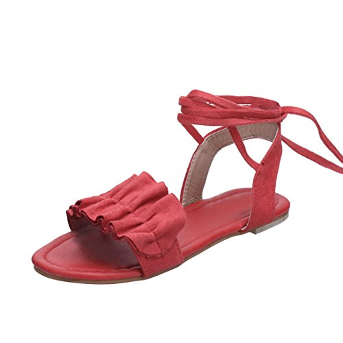 HLHN Women Sandals, Roman Gladiator Ruffles Ankle Cross Strap Flat Heel Open-Toe Shoes Casual Vintage Lady Red
