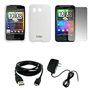 EMPIRE White Silicone Skin Cover Case + Screen Protector + Home Wall Charger + USB Data Cable for HTC Desire HD