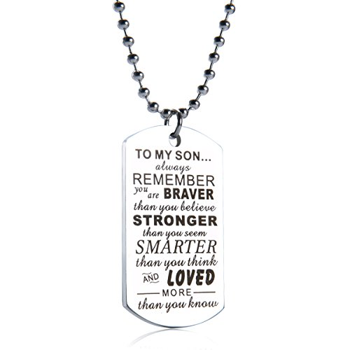 danjie to My Son Tag Stainless Steel Pendant Always Remember You are Braver Than You Believe Letters Boys Necklace Military Chain Air Force Pendant (STYLE1)