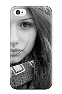 First-class Case Cover For Iphone 4/4s Dual Protection Cover Pretty Girl With Fur Hoodie