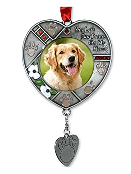 Dog Photo Memorial Ornament with Engravable Dog Tag