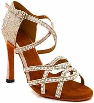 HIPPOSEUS Latin Dance Shoes for Women with Rhinestones Salsa Performance Dancing Shoes High Heel,Model YC-L38 Dance Women
