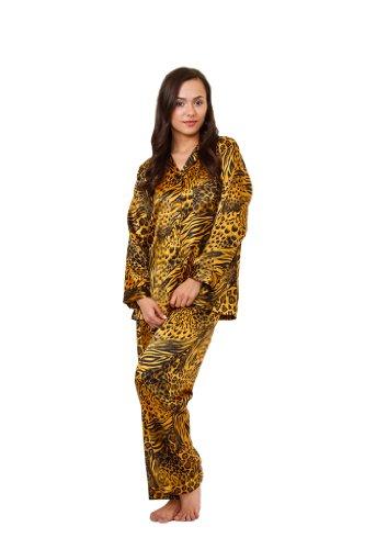 Classic Womens Pajama Set (Women's Classic Animal Print Pajama Sets (XL, Gold & Black Animal))