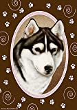 "Siberian Husky Pink Paw Garden Flag 28"" x 40"" For Sale"