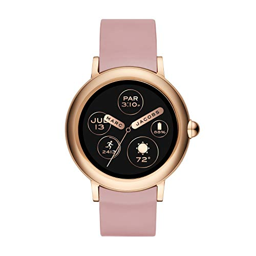 (Marc Jacobs Womens Riley Touchscreen Smartwatch, Stainless Steel and Silicone Strap, Black/Croco embossed)