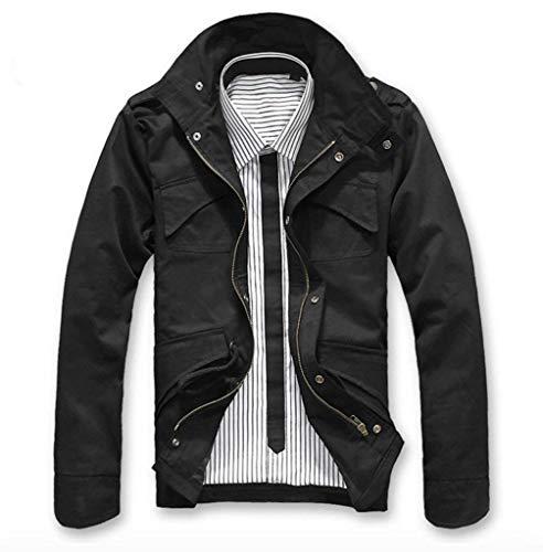 Leisure Moderne Taille Manches Veste Vestes Long Fit 3xl Zip Man Marciay Schwarz Manteau Revers Automne couleur De Mode Pour Slim Uw8BqW71ZO