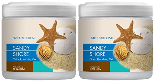 Smells Begone Air Freshener Odor Absorber Gel - Made with Natural Essential Oils - Absorbs and Eliminates Odor in Pet Areas, Bathrooms, Cars, Boats (Sandy Shore Scent 2 Pack)