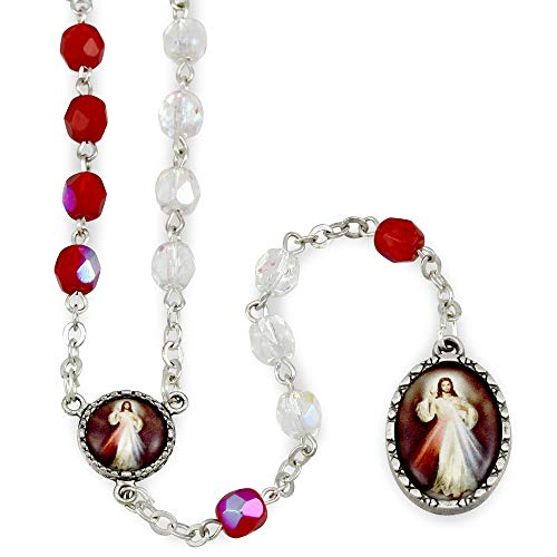 Red and White Beads Divine Mercy Rosary -