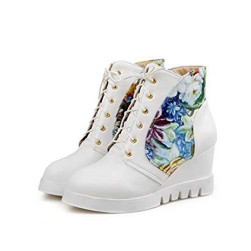 Closed Round Heels Assorted Boots White Ankle Women's Color Allhqfashion High High Toe q5nzExw1