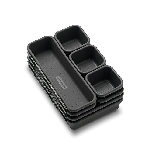 Made Smart Madesmart Interlocking Drawer Organizer 8 Bin, 1 Set, 9.19 x 6.19 x 4.60 in (23.34 x 15.72 x 11.68 cm), Granite